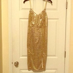 Sequined Fitted Dress (Gold)